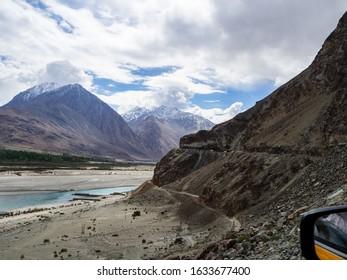 View along the Leh-Pangong Lake Road in Ladakh, North India