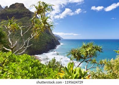 View along the Na Pali Coast from the Kalalau Trail in Kauai, Hawaii.