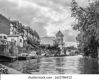 View along River Thames from a boat. River Thames, Maidenhead, United Kingdom, August 6 2019