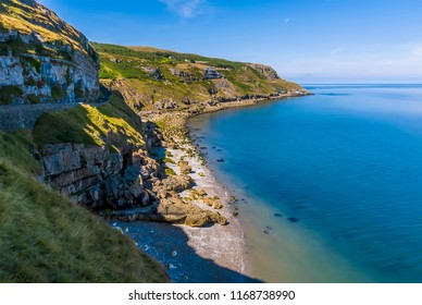 A view along the road on the Great Orme Limestone headland, Llandudno, Wales in summertime