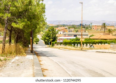 A view along a typical Italian road, in Sicily.