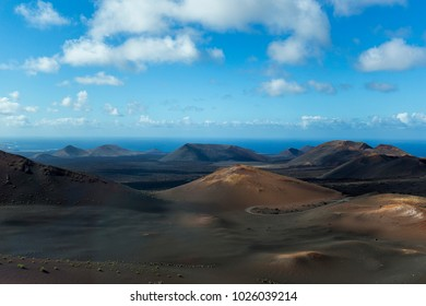 A view along the volcanic wasteland of the Timanfaya National Park, Lanzarote.