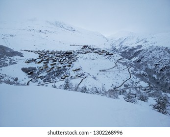 View of Alp D'Huez French alps village in winter covered by snow