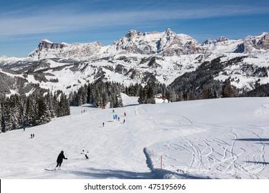 View of the Alpe di Fanes cliffs in winter, with the peaks Conturines and Piz Lavarella, Alta Badia, Italian Dolomites.