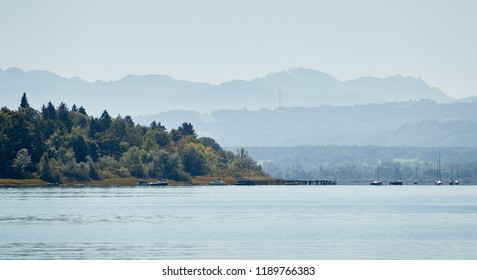 """View of the Alpine lake """"Ammersee"""" in Bavaria in the late summer"""