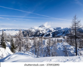 A view of the Alpine landscape in the winter season in Nassfeld