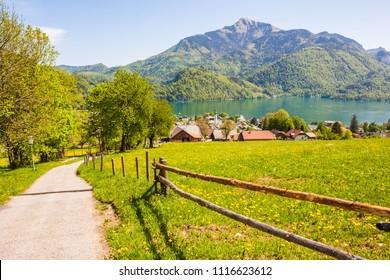 View of alpine meadow, austrian town St.Gilgen on Wolfgangsee lake, Schafberg mountain. Popular touristic destination in countryside near Salzburg, Austria