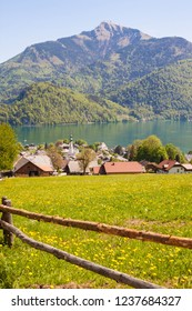 View of alpine meadow with log fence, austrian town St.Gilgen on Wolfgangsee lake, Schafberg mountain. Popular touristic destination in countryside near Salzburg, Austria