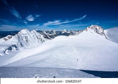 View of alpine summits (Lyskamm, Monte Rosa; over 4000 m)