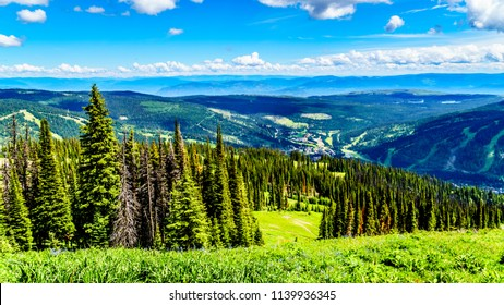 View of the alpine village of Sun Peaks from a hiking trail on Tod Mountain in the Shuswap Highlands of British Columbia, Canada
