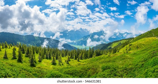 View of the alps along the famous hiking trail Pinzgauer spaziergang near Zell am See, Salzburg region, Austria.