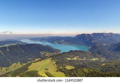 View of Alps mountain with Attersee lake from Schafberg mountain, Austria