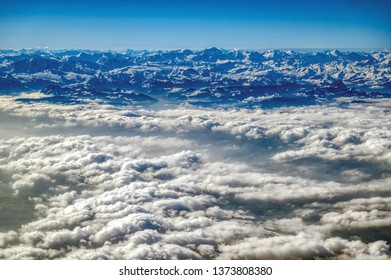 View of the Alps on a flight from Zurich to Frankfurt