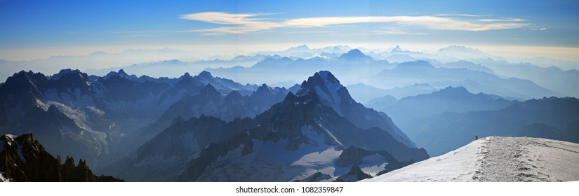 The view of Alps from the top of Mont Blanc