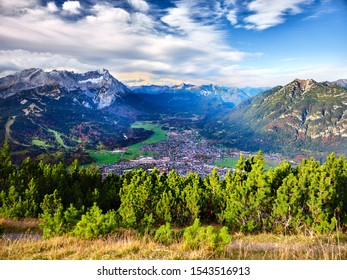 View to the alps from the top of mountain Wank in Garmisch-Partenkirchen in Bavaria, Germany on a sunny day in autumn
