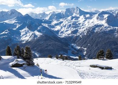 view of Alps in Zillertal valley, Tyrol, Austria