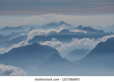 View of the Alps from Zugspitze, between Germany and Austria