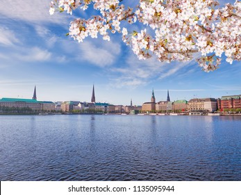 View of Alster Lake in Hamburg