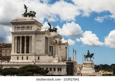 view of the Altare della Patria mausoleum in Roma, Italy