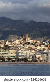 View of Altea village from the sea. Alicante province, Spain, Europe.