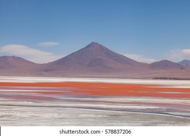 View of Altiplano lake. Laguna Colarada. Bolivia.