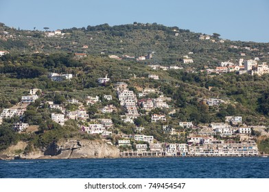 A view of the Amalfi Coast between Sorrento and Positano. Campania. Italy