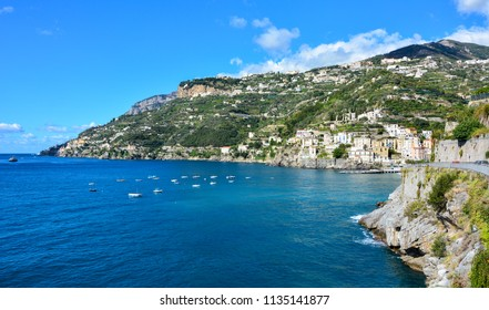 A view of Amalfi Coast, a popular tourist destination in the southern Italy, near the small town of Minori