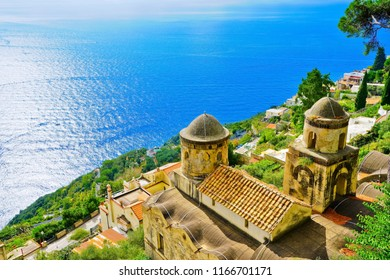 View of the Amalfi Coast from Ravello village in Italy on a sunny day in summer.