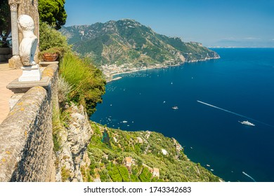 View of the Amalfi Coast from the town of Ravello, Italy, Europe
