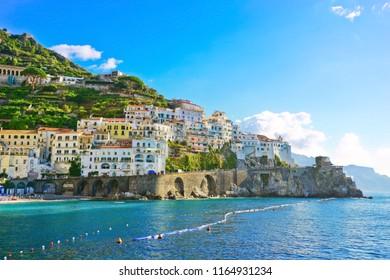 View of Amalfi village along Amalfi Coast in Italy in summer.