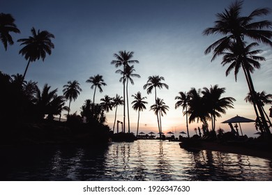 View of the amazing twilight at a tropical beach.