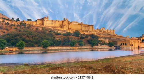 View of Amber fort over the lake, Jaipur, India