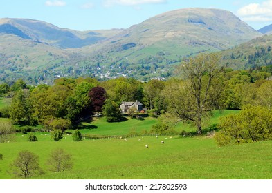 View of Ambleside and Hart Crag from High Wray near Lake Windermere in the Lake District National Park