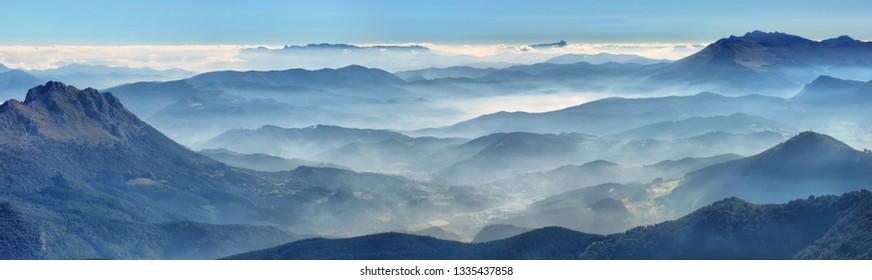 View from Amboto peak, Urkiola, Basque Country. Natural Park