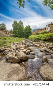 View of the Ambroz River as it passes through the Jewish quarter of Hervás, Cáceres, Extremadura. Spain, natural paradise of the Ambroz valley