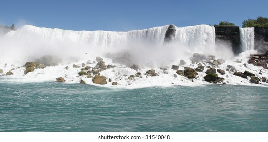 View of the American side of Niagara falls (prospect point) from the river below