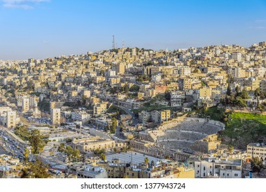 View of Amman, the capital of Jordan, with Roman theatre, Odeon theatre and Hashemite plaza, taken from Amman Citadel hill