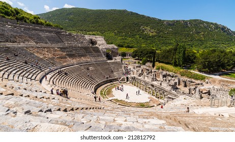 view of Amphitheater and marble road in Ephesus (Efes), Turkey