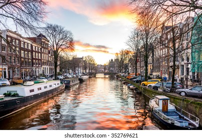 View of Amsterdam canal.