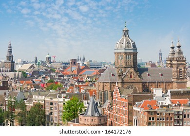 View of Amsterdam in a sunny summer day