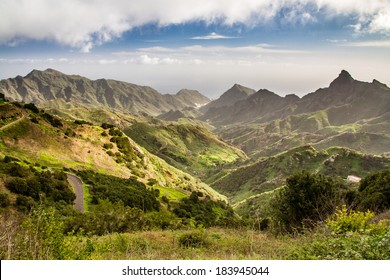 View of Anaga Mountains with Port - Tenerife, Canary Islands, Spain