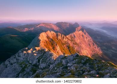 View of Anboto mountain range at sunrise