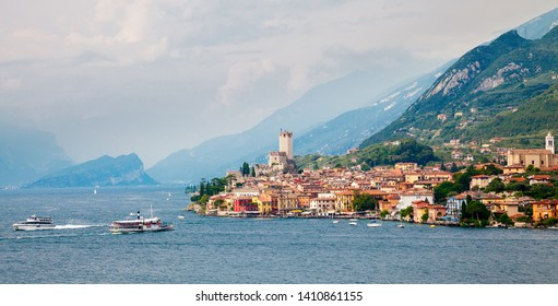 view with the ancient castle in Malcesine town on the lake Garda, Italy