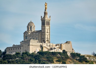 """View of the ancient church """"Notre Dame de la Garde"""" of Marseille in South France"""