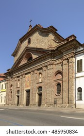 view  of ancient church of san Guido in small town of Acqui terme in Piedmont, Italy