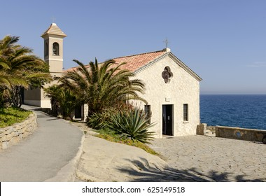 view of ancient church of Sant Ampelio near the Mediterranean sea,  shot at Bordighera, Liguria, Italy