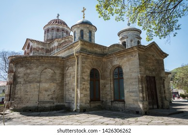 View of the ancient Church of St. John the Baptist built in the 6th century in the city of Kerch on the Crimean Peninsula. A historical example of Byzantine architecture with a cross-domed layout