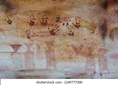 View of ancient colour painting prehistorical in Pha Tam National park .