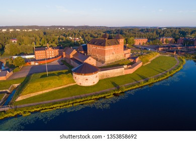View of the ancient fortress on a sunny July morning (shooting from a quadrocopter). Hameenlinna, Finland