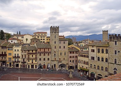 View of the ancient houses of Arezzo taken from the Big Square - Tuscany - Italy
